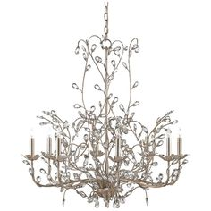 Currey and Company Large Crystal Bud Silver Granello Chandelier