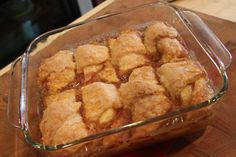 apple dumplings-I like this recipe best b/c the cinnamon is in the mixture (instead of sprinkled on top) and the flour thickens the sauce up a little more. YUM!