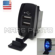 Dual Blue USB Socket Charger for UTV Can Am Polaris RZR Ranger 900 1000 XP 4 750 #KEMIMOTO