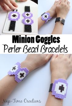 minion goggles perler bead bracelets - from Nap-Time Creations