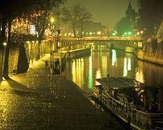 Paris Photograph, Seine Photo, Foggy Paris Night, France Print, Bridges, Boats, neuf, wall art, home decor, 8x10 par0035