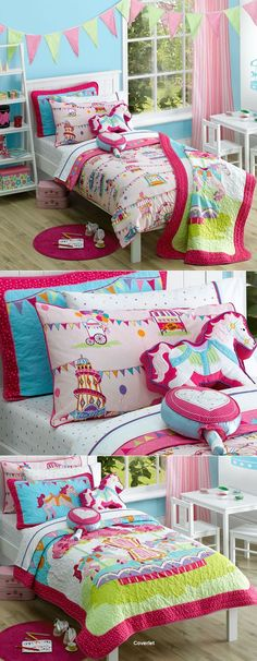 Fairground by Freckles Love the bunting and quilted cushion! Quilt Cover Sets, Quilt Sets, Woman Bedroom, Girls Bedroom, Childrens Bedrooms Girls, Bed Linen Australia, Kids Bed Linen, Retro Summer, Buy Bed