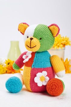 Free Knitting Pattern for Sherbert Bear At over tall, Sherbet is just the right size for children to hug. While the patchwork effect looks complicated, it. Teddy Bear Knitting Pattern, Animal Knitting Patterns, Knitted Teddy Bear, Christmas Knitting Patterns, Stuffed Animal Patterns, Crochet Patterns, Knitted Toys Patterns, Knitted Dolls Free, Bear Patterns