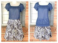 Gap sheer blue short sleeve top XS $9; INC blue/white print, short skirt 4 $10