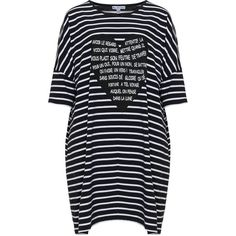 Miss Y by Yoek Black / White Plus Size Striped print long line top (6.165 RUB) via Polyvore featuring tops, black, plus size, patterned tops, print top, stripe top, three quarter sleeve tops и plus size 3/4 sleeve tops