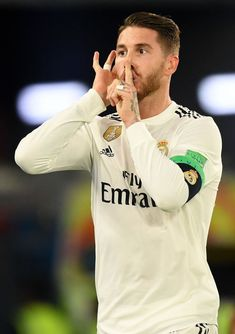 Sergio Ramos of Real Madrid celebrates after scoring his team's third. Real Madrid Team, Real Madrid Football, Real Mardrid, Liga Soccer, Mens Hairstyles With Beard, Santiago Bernabeu, Club World Cup, Cristiano Ronaldo Lionel Messi, Soccer Pictures