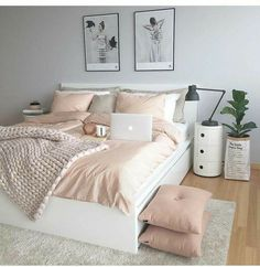 Cute Bedroom Ideas, Room Ideas Bedroom, Bedroom Colors, Bedroom Decor, Bed Room, Decor Room, Bedroom Themes, Bed Ideas, Bedroom Storage