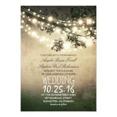 Rustic Tree Branches & String Lights Wedding Invitation Card