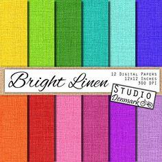 Linen Digital Paper 12 Colorful Linen Paper by StudioDenmark