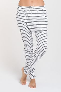 Luxe Drop Slouch Pants, Organic Black Stripe