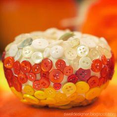 Candy Corn Button Pumpkin