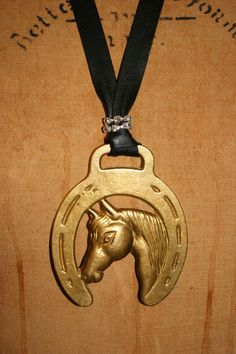 Vintage Horse Brass Necklace with Rhinestones by funkologie, $42.00