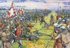 The Battle of Otterburn, 1388. As the sun sets the tide of Battle turns; the onslaught of the earls of March and Moray causes the English line to give way