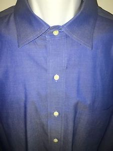Brooks Brothers 17/33 Traditional Fit Non Iron Shirt Point Collar Blue