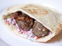 Dinner Tonight: Lamb Meatballs with Yogurt and Pomegranate Seed Sauce. #recipe