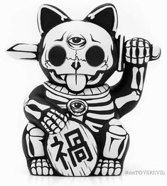 "Custom-Feature: ""The Ancients Influence Us Still"" Misfortune Cats by Jon-Paul Kaiser Maneki Neko, Neko Cat, Kitty Cats, Tattoo Drawings, Art Drawings, Lucky Cat Tattoo, Desenho Tattoo, Arte Horror, Graffiti Lettering"
