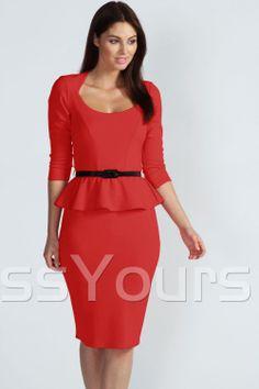 US$20.19 Red Long Sleeve Belted Peplum Midi Dress. #Dresses #Long #Dress #Belted