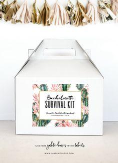 Bachelorette Party Survival Kit - Hangover Survival Kit - Palm Springs Bachelorette Gable Boxes - Cactus Bachelorette Party Decoration by LabelWithLove on Etsy https://www.etsy.com/listing/561310175/bachelorette-party-survival-kit-hangover