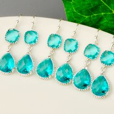 Teal Bridesmaid Earrings SET OF 5 - 10% OFF Sea Green Teardrop Earrings - Silver Teal Blue Green Bridesmaid Jewelry Set - Wedding Jewelry by MyDistinctDesigns on Etsy https://www.etsy.com/ca/listing/184423254/teal-bridesmaid-earrings-set-of-5-10-off