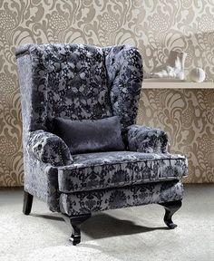 Divani Casa Metropolitan - Tall Fabric Leisure Chair with Acrylic Crystals