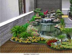 Comfy Minimalist Garden House With Fish Pond Ideas 07 Garden Design Pictures, Home Garden Design, Backyard Garden Design, Small Garden Design, Ponds Backyard, Backyard Landscaping, Landscaping Design, Backyard Ideas, Garden Ideas