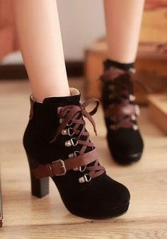 New Women Black Round Toe Chunky Buckle Zipper Casual Ankle Boots