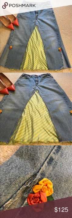 """Levi Strauss Jean Skirt - STREET STYLE One of a kind!!! Now this is truly a """"Jean"""" Skirt!! Levi Strauss Jeans made into a skirt. Lots of fun detailing and fabric, lined in front. STREET STYLE skirt! 33 inch waist.   Length falls below the knees. Levi's Jeans"""