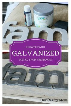 How To Make Faux Galvanized Metal From Chipboard-Our Crafty Mom. Welcome to this month's edition of the Farmhouse Hens! Metal Projects, Metal Crafts, Diy Projects To Try, Wood Crafts, Craft Projects, Home Deco, Chipboard Crafts, Decor Crafts, Diy Crafts