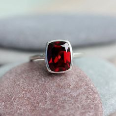 Garnet Solitaire Ring, Sterling and Cushion Cut Garnet Gemstone Size 4