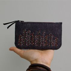 Wool Felt Coin Purse Wallet // Spring Garden by LoftFullOfGoodies