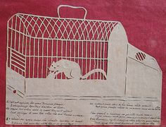 Elizabeth Cobbold antique cutting of a mouse in a cage, along with an original poem.