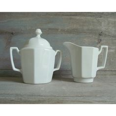 Ironstone Cream and Sugar Set Grindley Ascot Satin White Ironstone... (65 CAD) ❤ liked on Polyvore featuring home, kitchen & dining and serveware