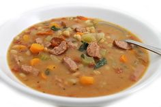 (NEW RECIPE) Here's a richly flavorful, very hearty, main course soup. Adding turkey kielbasa (sausage) and beans creates a slow-simmered flavor even though it takes just 25 minutes to make. It&#82…