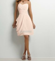 Blush Pale Pink Knee length Aline Dress with by WeddingBless, $88.00