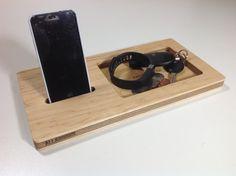 AllAboard Wood Phone Dock and CatchAll Organizer by Wudzeedotcom, $35.00