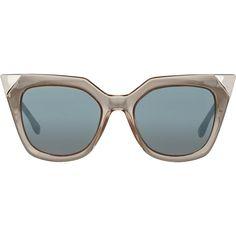 Fendi Women's Iridia Sunglasses (830 BAM) ❤ liked on Polyvore featuring accessories, eyewear, sunglasses, glasses, fendi, colorless, oversized square sunglasses, square sunglasses, fendi sunglasses and square cat eye sunglasses