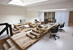 Temporary desks made from shipping pallets.