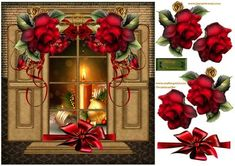 Window Christmas Winter Roses on Craftsuprint designed by Marijke Kok - beautiful window with gorgeous dark red winter roses with golden swirls and en red ribbon.Very romantic christmas/winter card and so easy to make. - Now available for download!