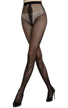 Black Patterned Tights, Black Tights, Pantyhose Outfits, Nylons And Pantyhose, Stockings Lingerie, Nylon Stockings, Chica Punk, Asian Lingerie, Stocking Tights