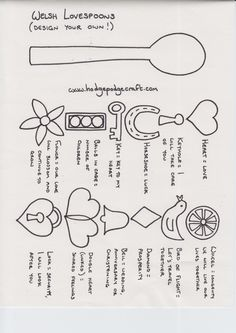 Design-your-own-Welsh-Lovespoon - girls could paint wooden spoons for St David's Day