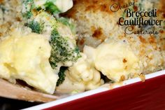 "Cheesy Broccoli Cauliflower Bake! This is easy to make and doesn't contain any ""cream of"" soup!"
