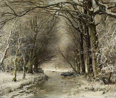 APOL, LOUIS <br> The Hague 1850 - 1936 <br> <br> Winter Forest. Oil on canvas. 51,5 x 61cm. Signed lower right: Louis Apol fec. Framed. <br> <br> Verso: <br> Label and signet on stretcher from Amsterdam art dealer Roeleofs <br>