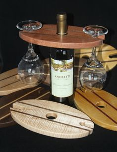 Wine Bottle Glass Holders - All For Garden Wine Bottle Glass Holder, Glass Holders, Bottle Art, Wood Wine Holder, Beer Bottles, Wine Craft, Wine Bottle Crafts, Wine Display, Beginner Woodworking Projects