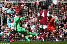 West Ham XI's  goalkeeper Adrianscores his side's second goal of the Noble testimonial ma...
