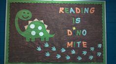 Reading is Dino Mite Preschool Bulletin Board Ar Bulletin Boards, Dinosaur Bulletin Boards, Preschool Bulletin Boards, Classroom Walls, Classroom Decor, Diy Arts And Crafts, Crafts For Kids, School Door Decorations, Dinosaurs Preschool