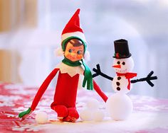 Chippy made a snowman #Elf on the shelf