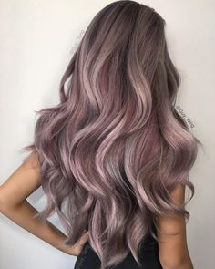 Beautiful purple and gray hair highlights with lilac and mauve tones