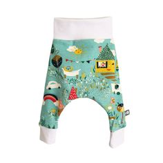 Organic Baby HAREM PANTS Relaxed Green Happy House Trousers - A Modern Baby Gift Idea by BellaOski by bellaoski on Etsy