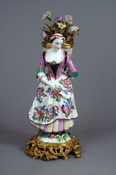 Meissen Porcelain Flower Seller Figure Modeled By J. J. Kaendler In Fine French Or German Rococo Mounts - France And Germany   c. Louis XV Period