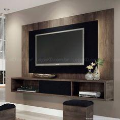 Home Suspenso para TV até 47 Polegadas Lume com 1 Porta de Correr e Fita LED 133 x 180 x 32,5 Terrarum Nature/Preto Silk - HB Móveis